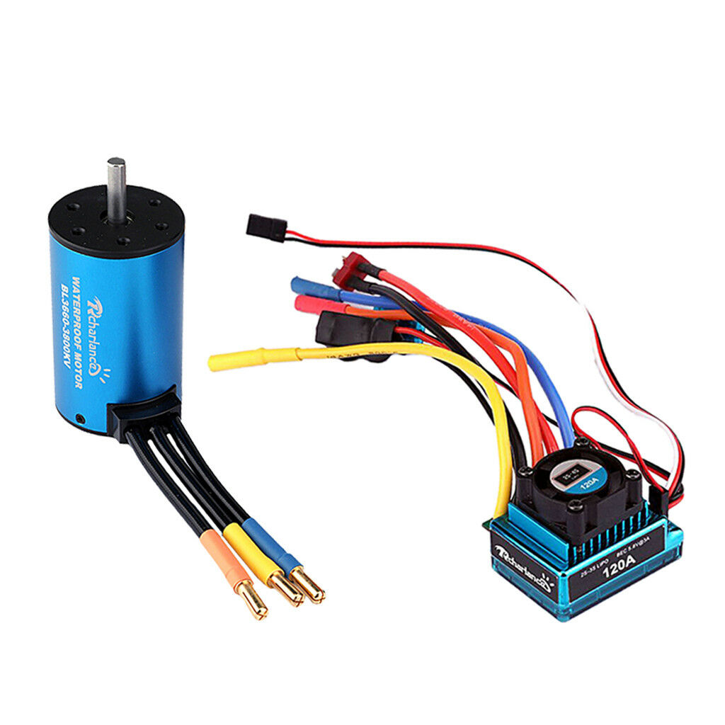 1 10 RC Car Parts Metal 120A Brushless ESC & 3660 3800KV Brushless Motor