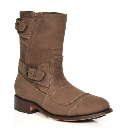 Mens Biker Brown Real Leather Slip On Round Toe Calf Length Grinders Boots