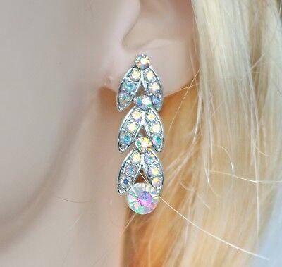 Floral AB Clear Rhinestone Crystal Necklace Earrings Set Bridal Prom Wed N20AB