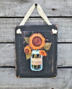 Country-Primitive-Sunflowers-in-Mason-Jar-Rustic-Handmade-Wooden-Sign