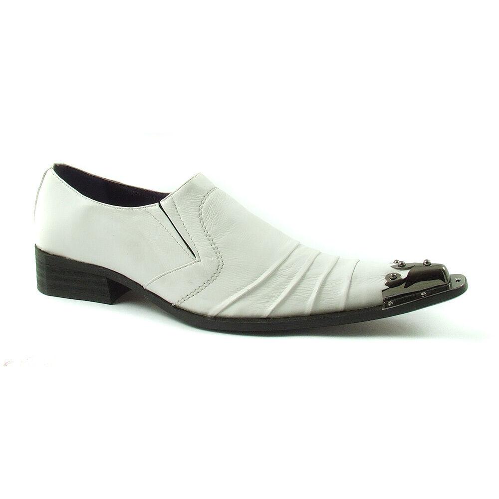 Gucinari Adillo Weiß Leder Slip Steel Toe Cap Slip Leder On 556166