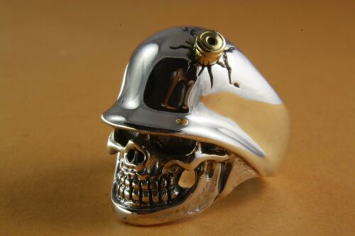 Skull Biker Chopper cross Ring Silver Ring 925 Genuine Silver 237