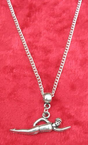 """18/"""" or 24 Inch Chain Necklace /& Swimmer Pendant Swim Swimming Charm Gift"""
