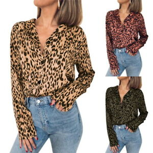 42c32da3bf3b UK Sexy Women Leopard Printed Chiffon Blouse Long Sleeve Shirts Lady ...