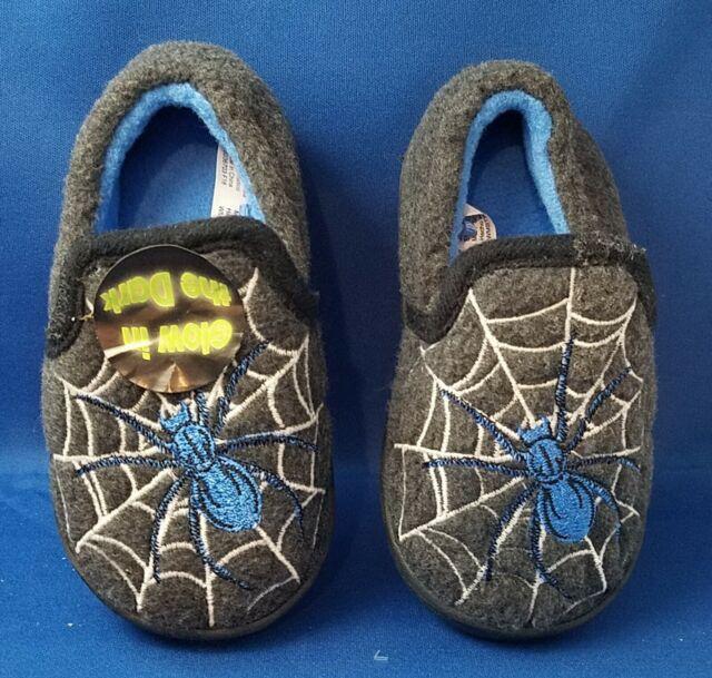 Wonder Nation Glow in Dark Spider Webb Toddler Baby Boy Slipper Shoes Size 5/6