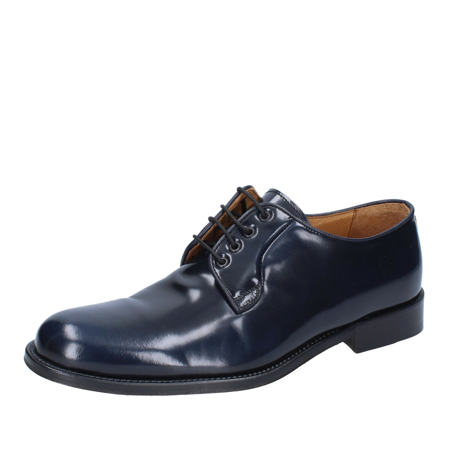 Mens shoes ALEXANDER 6 (EU 40) elegant bluee shiny leather BS207-40