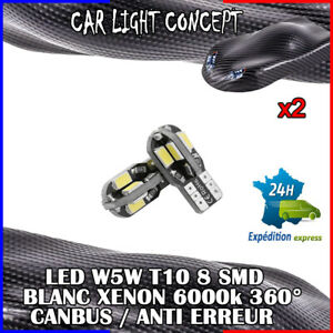 2-x-ampoule-Veilleuse-LED-W5W-T10-Canbus-BLANC-XENON-6000k-voiture-moto-8-smd