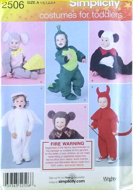 Sewing Pattern Simplicity 2506 Toddlers Costumes Mouse Devil Dragon