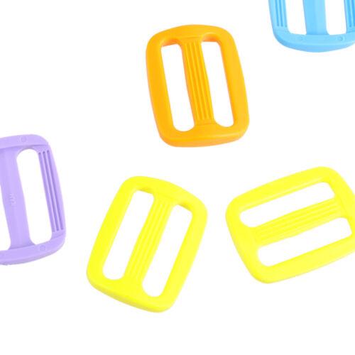 20pcs Plastique Slider Tri Glide Ajustable boucles sangles taille 25 mm multi