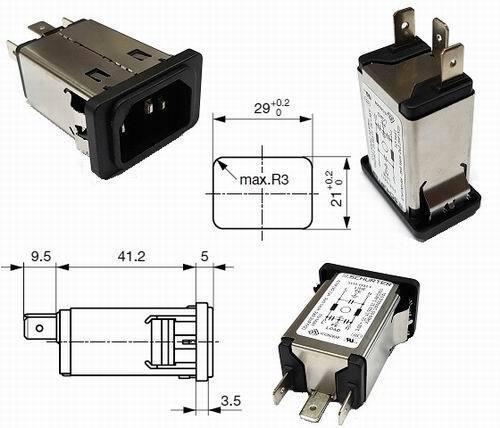 Schurter c14 device Connector IEC Connector Terminals 6,3mm 10a 250vac 1 Piece