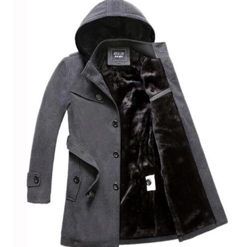 New Plus Velvet Thick Mens Winter Korean Woolen Coat Warm Jacket Outwear S Ths01