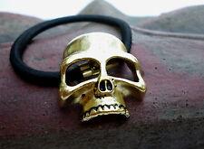Haargummi Totenkopf Metall golden Skull Haarband Haarspange Gummiband Schädel