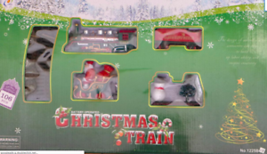 CHRISTMAS-TRAIN-SET-NICE-GIFT-AROUND-CHRISTMAS-TREE-TRACKS-amp-CARRIAGES-SANTA