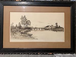 George-Bohde-original-etching-034-The-Old-Drawbridge-034-Antique-Matt-and-frame-Rustic