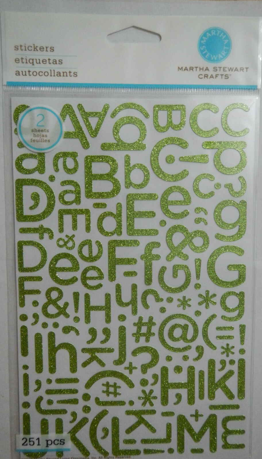 MARTHA STEWART PERIDOT GLITTER ALPHABET STICKERS 251  PCS NEW