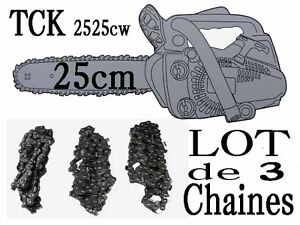 Lot De 3 Chaines Tronconneuse Tck 2525cw Coupe 25cm Piece Guide A Chaine 40t Matériel Agricole, Forestier