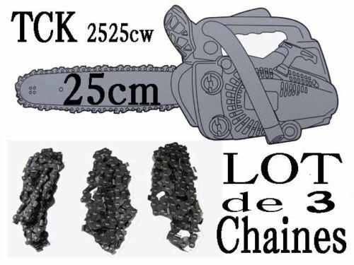 Lot de 3 chaines  TRONCONNEUSE TCK  2525cw  coupe 25cm piece guide a chaine 40T