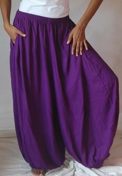 Purple pants  harem one size M L XL 1X 2X wide leg hippy boho zx968