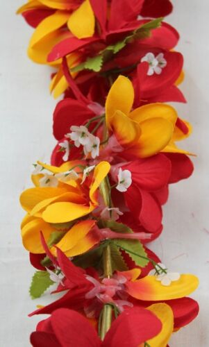 Hawaiian Lei Party Luau Floral Silk Fabric Dance Plumeria Flower  Red Oragne