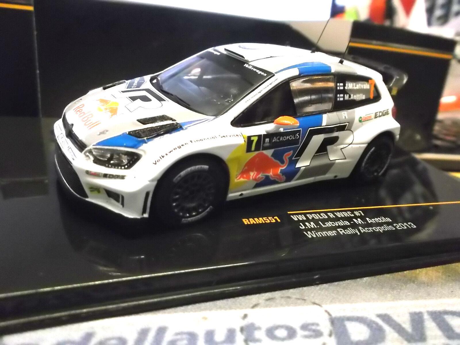 VW Volkswagen Polo WRC Rallye Acropole Latvala Win 2013 R Bull RAM551 IXO 1 43