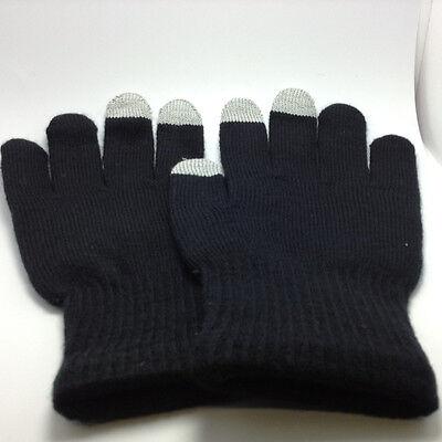 Anti-Slip Wool/Acrylic Touch Screen Device Winter Gloves - Black