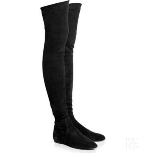 Damen Rund Flache Absatz Overkneestiefel Stretch-Stiefel Unifarbe Einfach 41/42