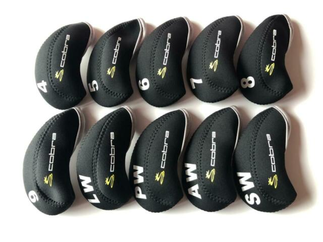 10PCS Protective Iron Headcovers for Cobra Club Covers Caps Black&Black 4-LW