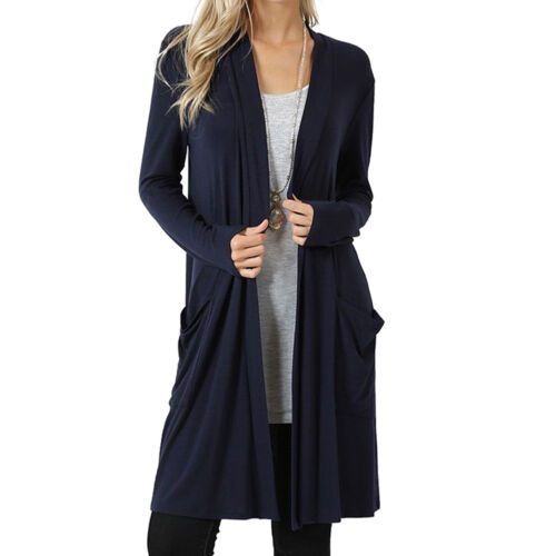 Womens Lady Knitted Cardigan Loose Sweater Outwear Long Sleeve Jacket Coat Tops