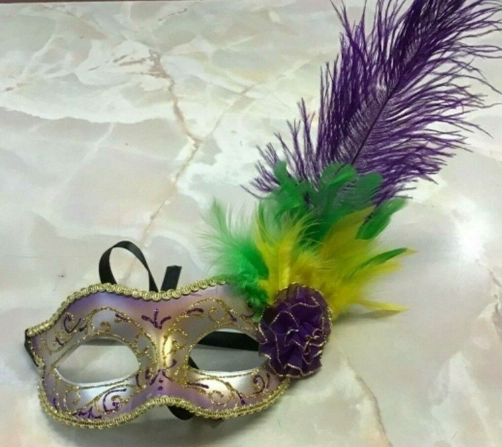 Purple Green Gold Mardi Gras MASQUERADE PARTY FEATHER Eye Mask costume carnival