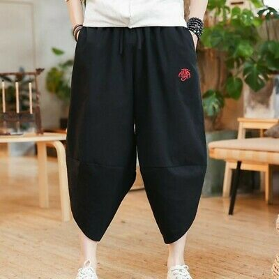Retro Men Summer Linen Cropped Trousers Loose Youth Casual Short Harem 3//4 Pants