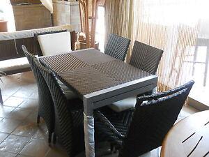 Set tavolo e sedie da giardino per esterno allungabile
