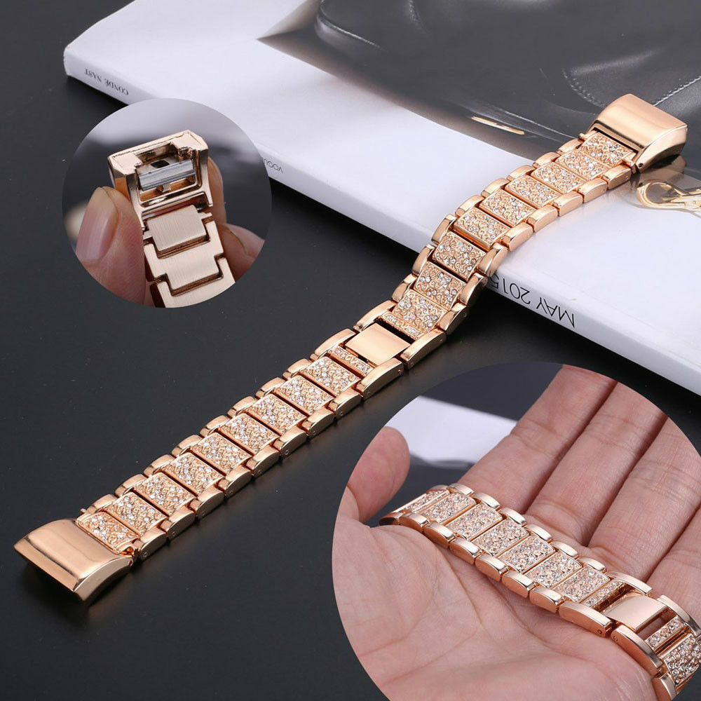 For Fitbit Charge 2 Smart Watch Crystal Stainless Steel Watch Band Wrist Strap E 10