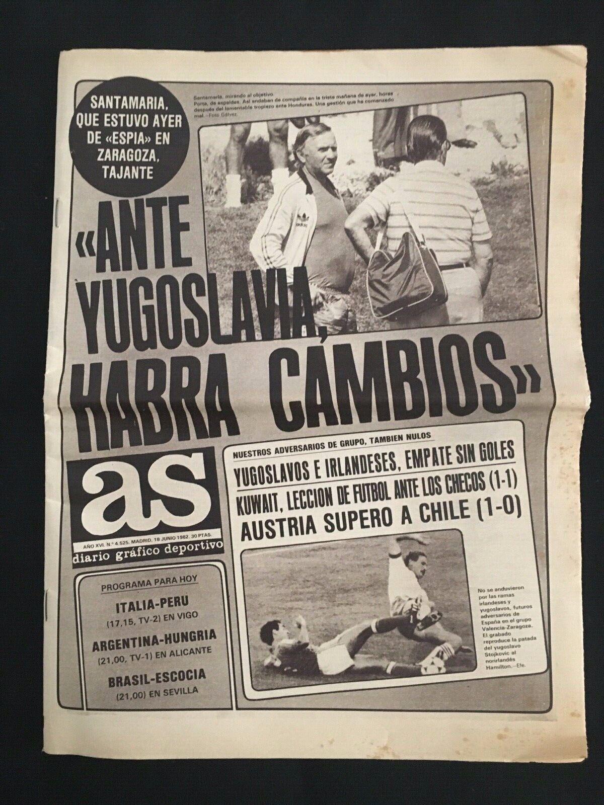 DIARIO AS MUNDIAL 1982 ESPAÑA-YUGOSLAVIA-IRLANDA-KUWAIT-CHECOSLOVAQUIA-AUSTRIA