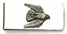 Falcon Stooping Pewter Motif Money Clip FREE ENGRAVING Hunting Gift Present