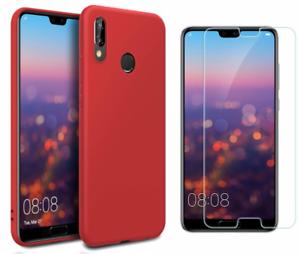 Coque-Souple-Silicone-Pour-Huawei-Mate-20-Lite-Rouge-Verre-Trempe-Anti-chocs