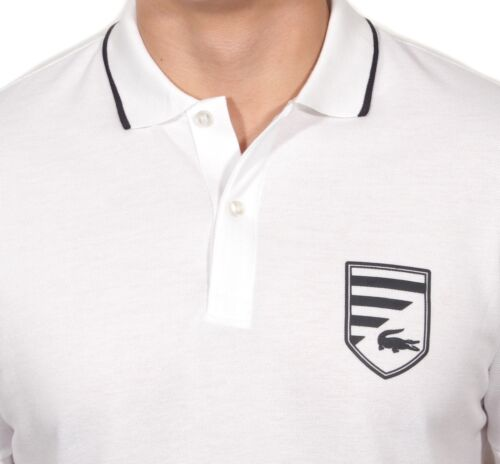 Lacoste Men/'s Pique Polo With Printed Chest Crest White//Navy Blue PH8289-51 522