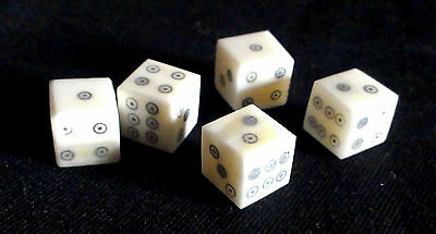 Five historic reproduction ring and dot bone dice; c. 1cm