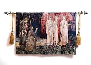"""Medieval Knight Accolade Jacquard Woven Fine Art Tapestry Wall Hanging 39/"""" X 55/"""""""