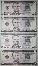 Uncut sheet of $5 Five dollar bills genuine US un-cut money x4 Uncut Currency!