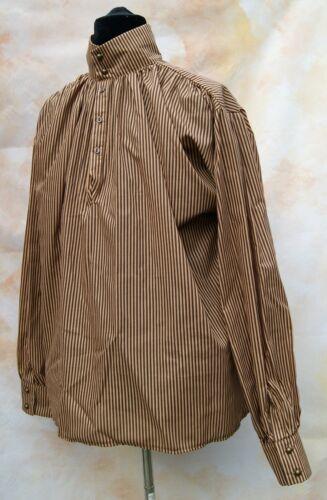 HIGHWAYMEN Camicia Goth Dandy vittoriana Steampunk Marrone Strisce Cosplay OSSIDIANA