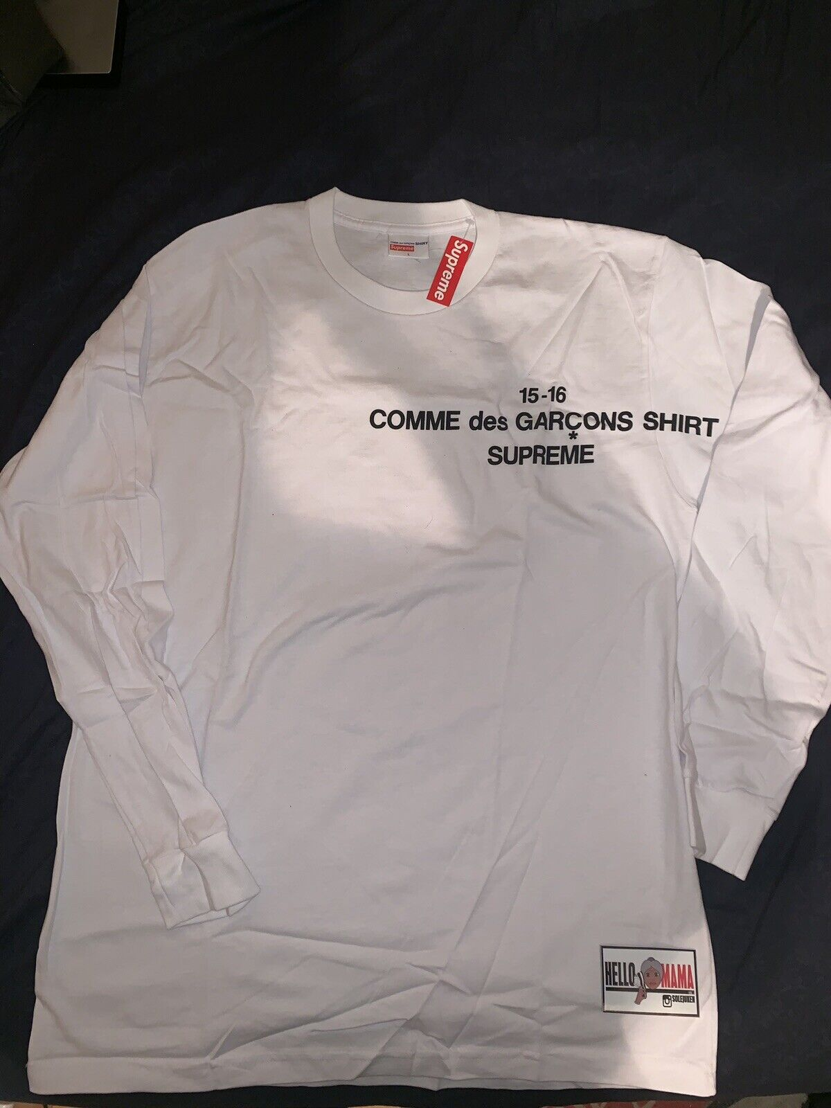 Supreme Comme Des Garcons CDG FW15 Long Sleeve T-shirt Tee Weiß SZ L DS