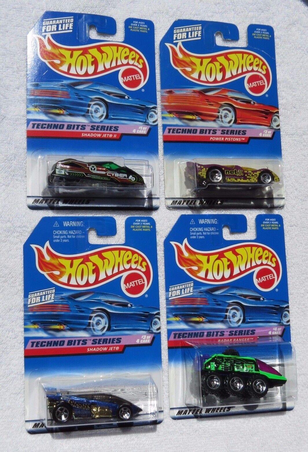 1998 1998 1998 bits Techno Hot Wheels de Mattel Serie, conjunto completo de 4 coches, nuevos (6,B1) 24872d