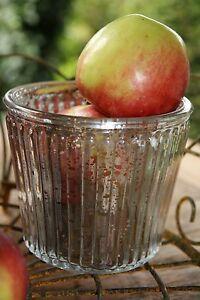 Set-aus-2-Teelichthalter-silber-Glas-Bauernsilber-Rillen-edel-dekorativ