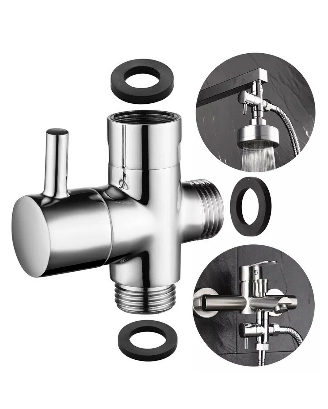 Wall Mount Brass Bathroom Shower Faucet Valve 2 Ways Water Outlet Diverter Valve