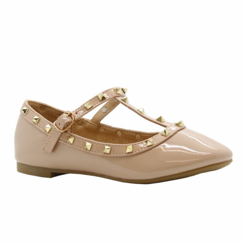 GIRLS KID PARTY FLAT STUDDED POINTED TOE T-BAR BUCKLE PUMPS BALLERINA SHOES SIZE