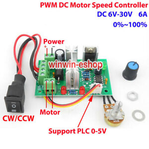 6A PWM DC Motor Speed Controller DC 6V-30V 12V 18V 24V CW CCW Reversible Switch