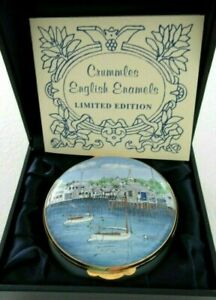 RARE-CRUMMLES-NANTUCKET-ISLAND-COTTAGES-PILL-TRINKET-BOX-HANDCRAFTED-CAPE-COD