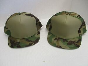 a1c5dba75e0bf Vintage NOS OD GREEN & WOODLAND CAMO CAP HAT-5 PANEL-FULL PUFFY+ROPE ...