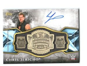 WWE-Chris-Jericho-2017-Topps-Legends-Belt-Plate-Autograph-Relic-Card-SN-79-of-99