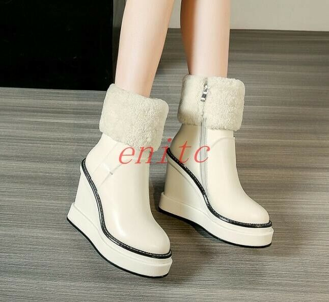 Womens Winter Leather Fleece Trim Ankle Boots Platform High High High Wedge Heels shoes SZ 8c21bf
